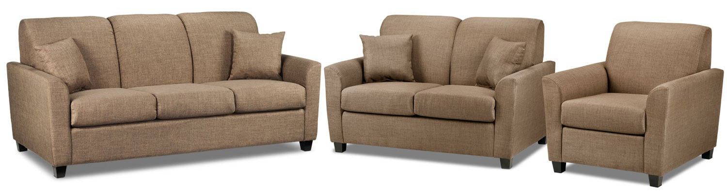 Roxanne Sofa, Loveseat and Chair Set - Hazelnut