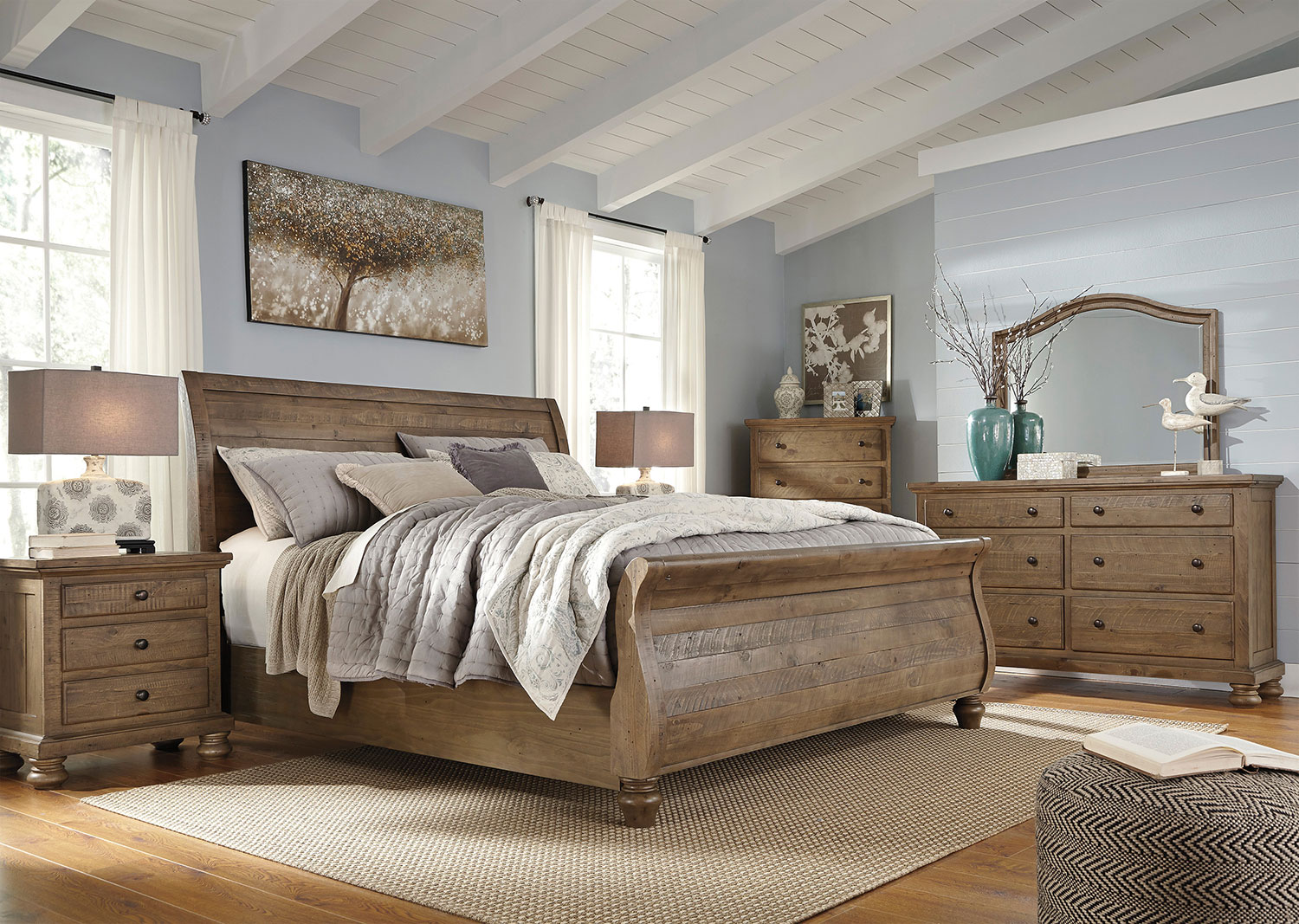 Hayden 4 piece queen bedroom set weathered gray levin for Bedroom ideas oak bed