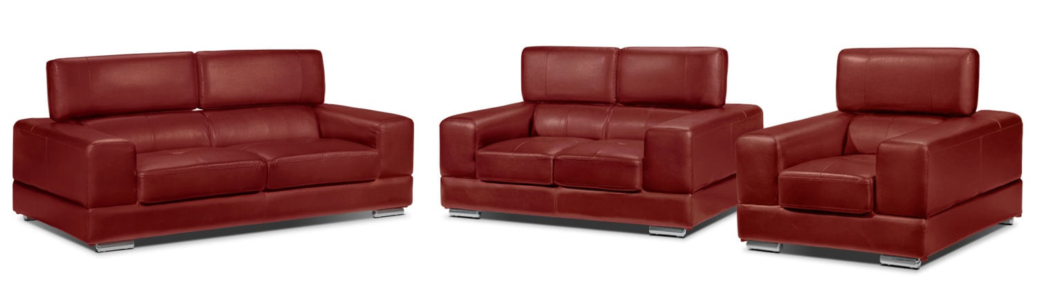 Driscoll Sofa, Loveseat and Chair Set - Red