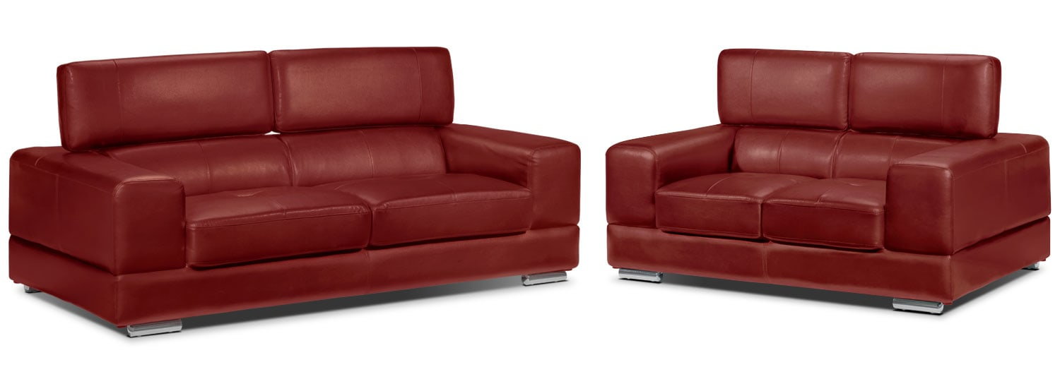 Driscoll Sofa and Loveseat Set - Red