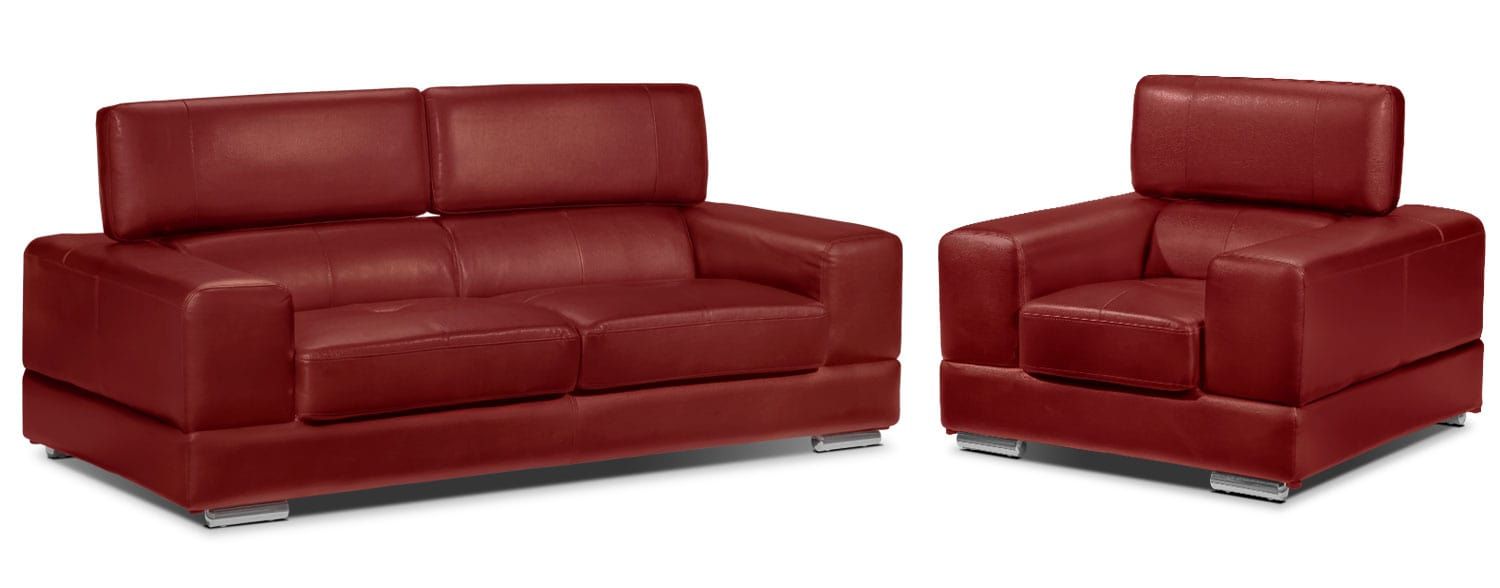 Driscoll Sofa and Chair Set - Red