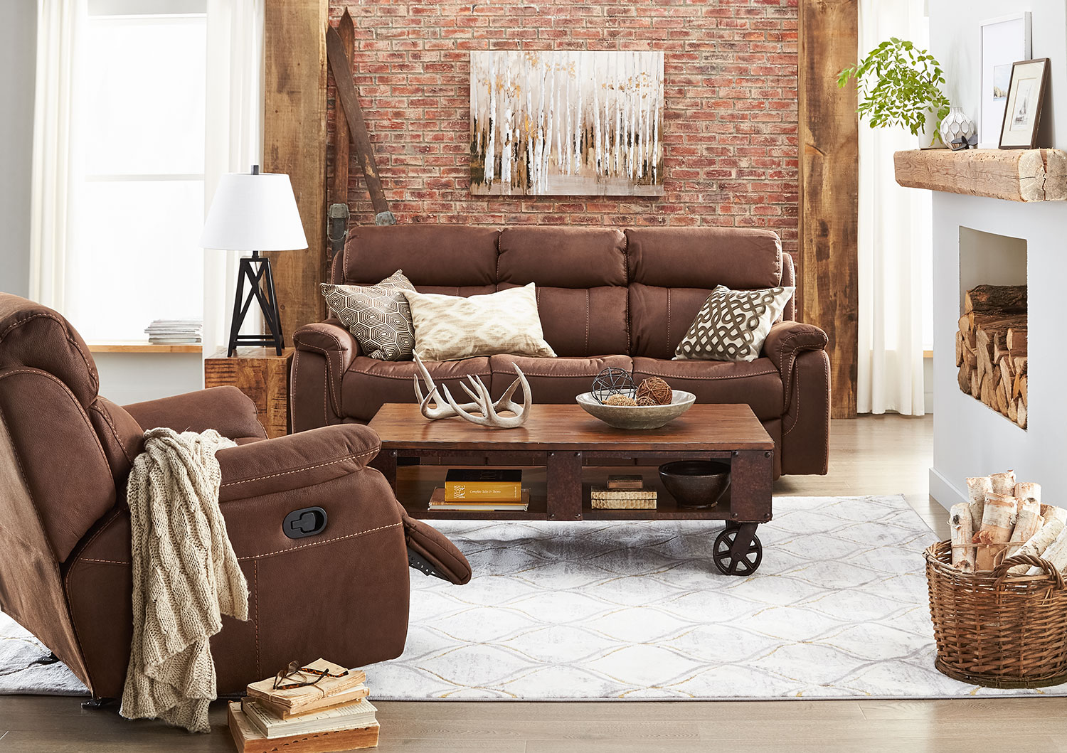 Morrow Reclining Sofa and Recliner Set - Saddle Brown