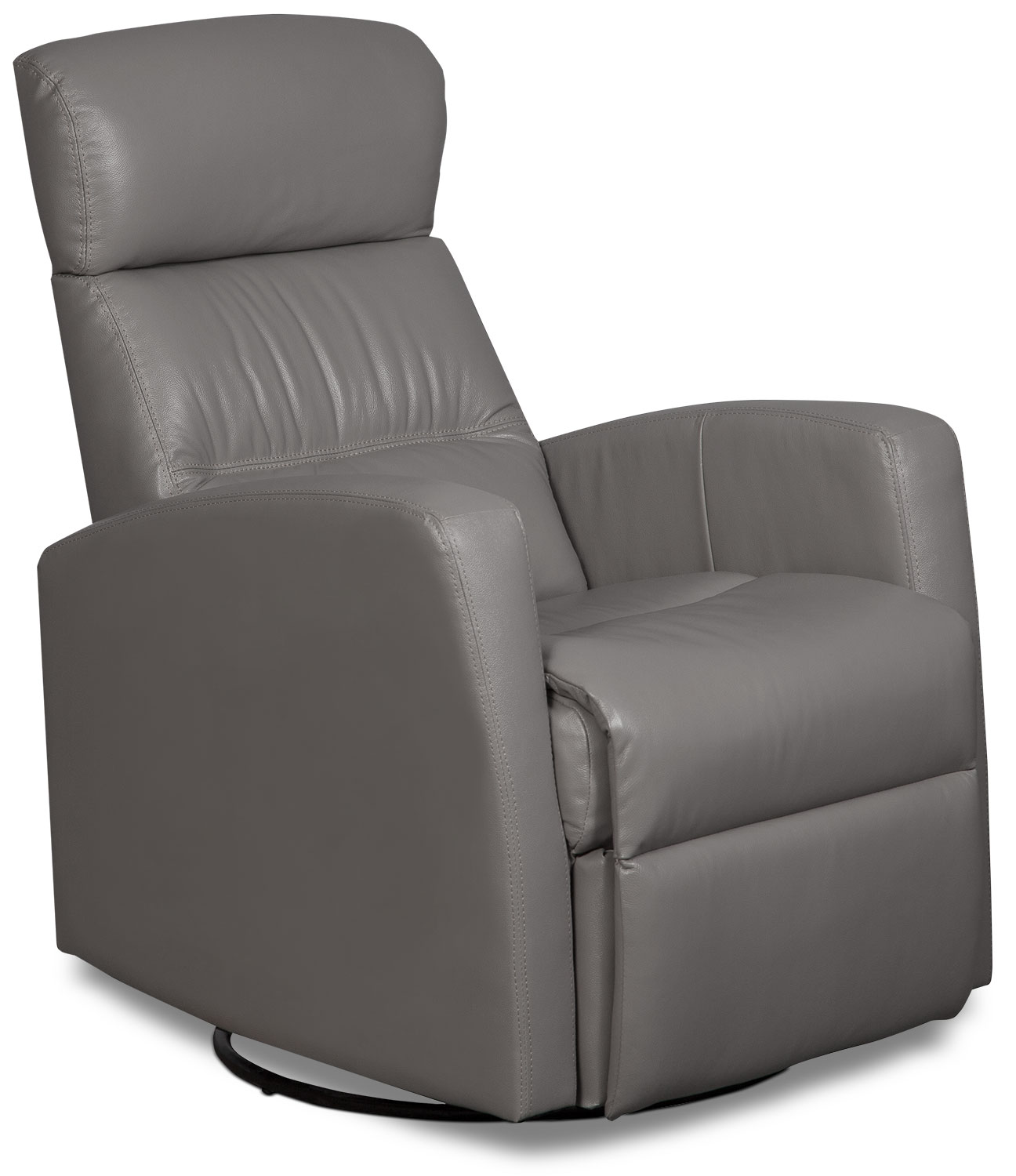 Penny Genuine Leather Swivel Rocker Reclining Chair – Light Grey