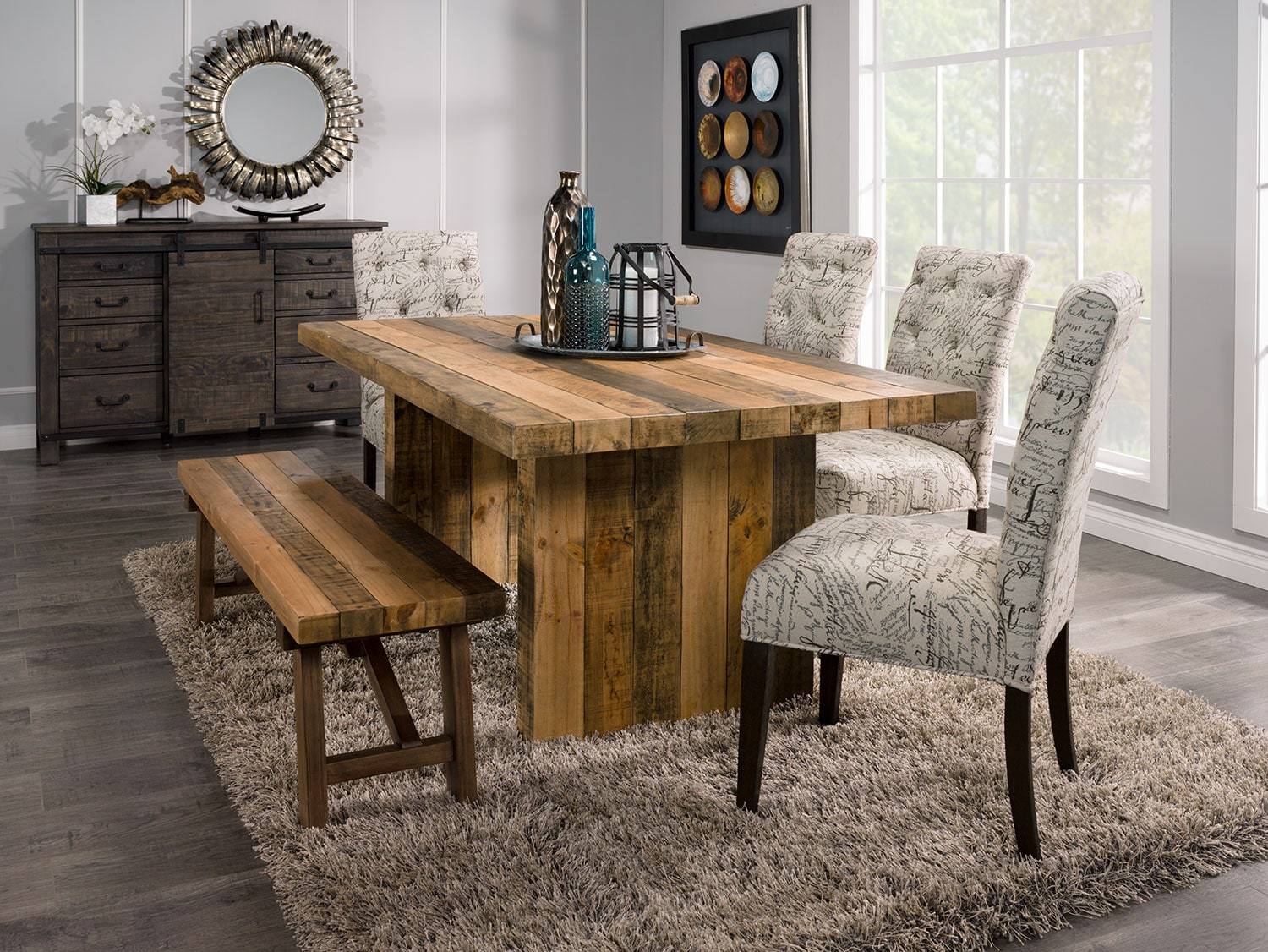 Dining Room Furniture - Colby 5-Piece Dining Package with Brisbane Script Chairs
