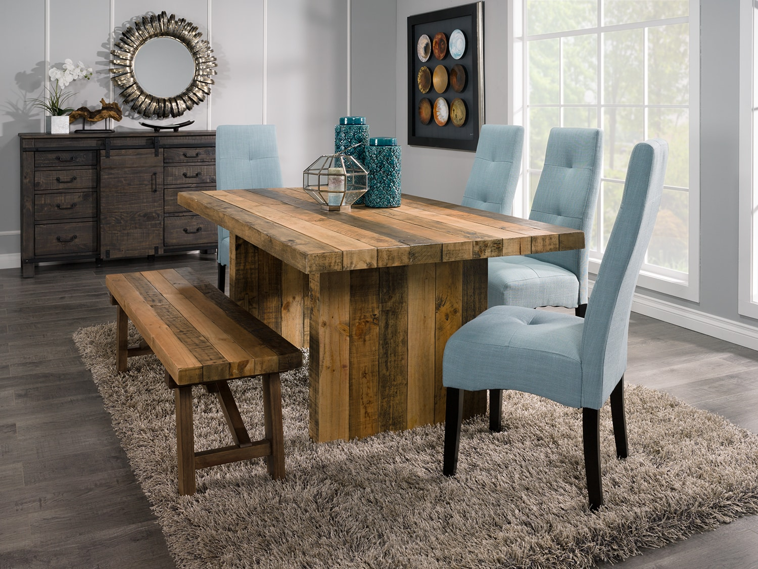 Dining Room Furniture - Colby 5-Piece Dining Package with Sadie Dining Chairs