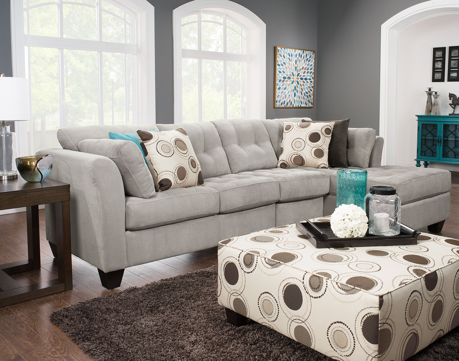 Living Room Furniture - Designed2B Dez 3-Piece Right-Facing Textured Chenille Sectional – Plush Pewter