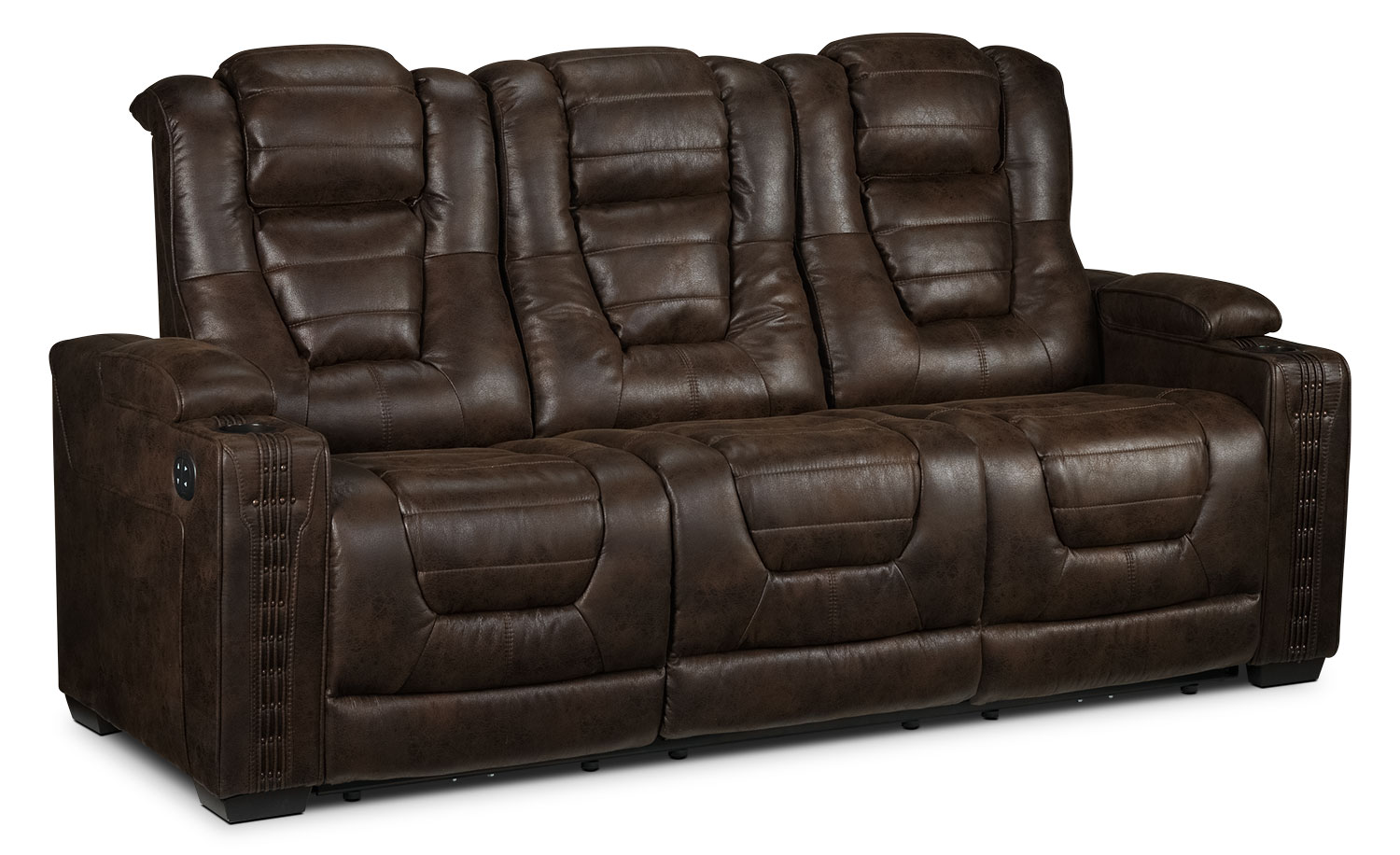 Living Room Furniture - Dakota Power Reclining Sofa - Walnut