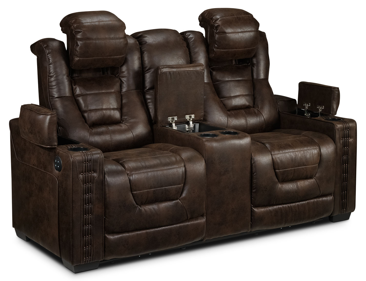 Black leather electric recliner sofa dakota power for Couch and loveseat