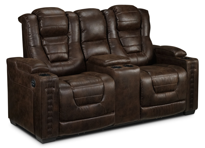 Living Room Furniture - Dakota Power Reclining Loveseat - Walnut