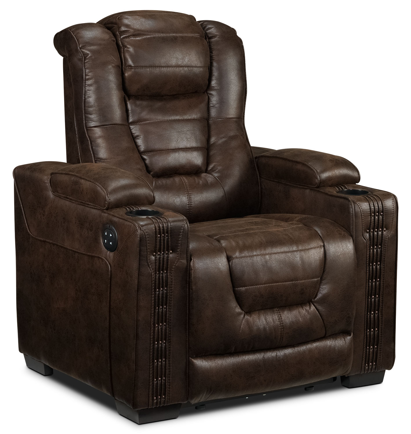 Dakota power reclining loveseat walnut leon 39 s Power loveseat recliner