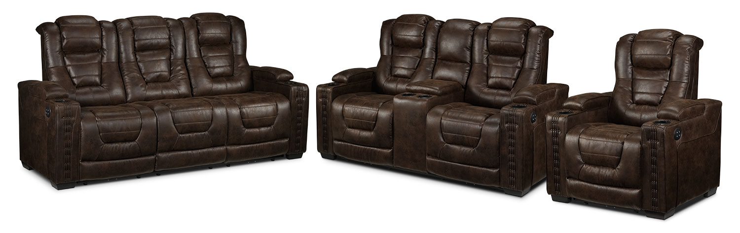 Dakota Power Reclining Sofa, Power Reclining Loveseat and Power Recliner - Walnut