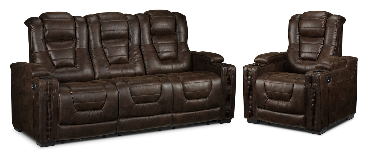 Dakota Power Reclining Sofa and Power Recliner - Walnut