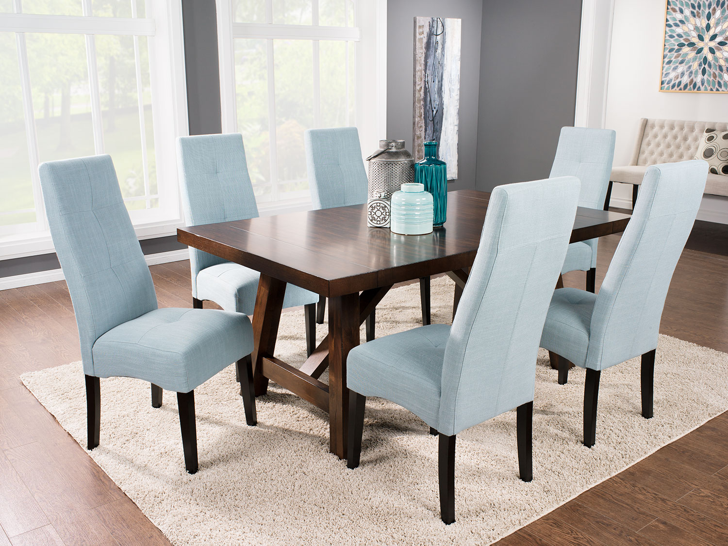 Adara 7-Piece Dining Package with Sadie Chairs