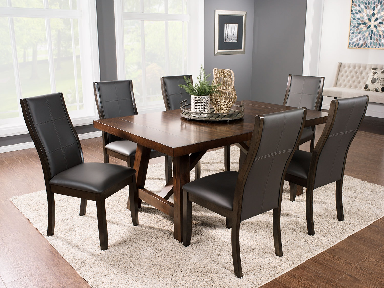 Dining Room Furniture - Adara 7-Piece Dining Package with Tyler Chairs – Grey