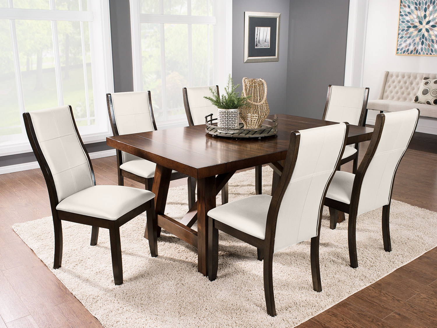 adara 7 piece dining package with tyler chairs taupe. Black Bedroom Furniture Sets. Home Design Ideas