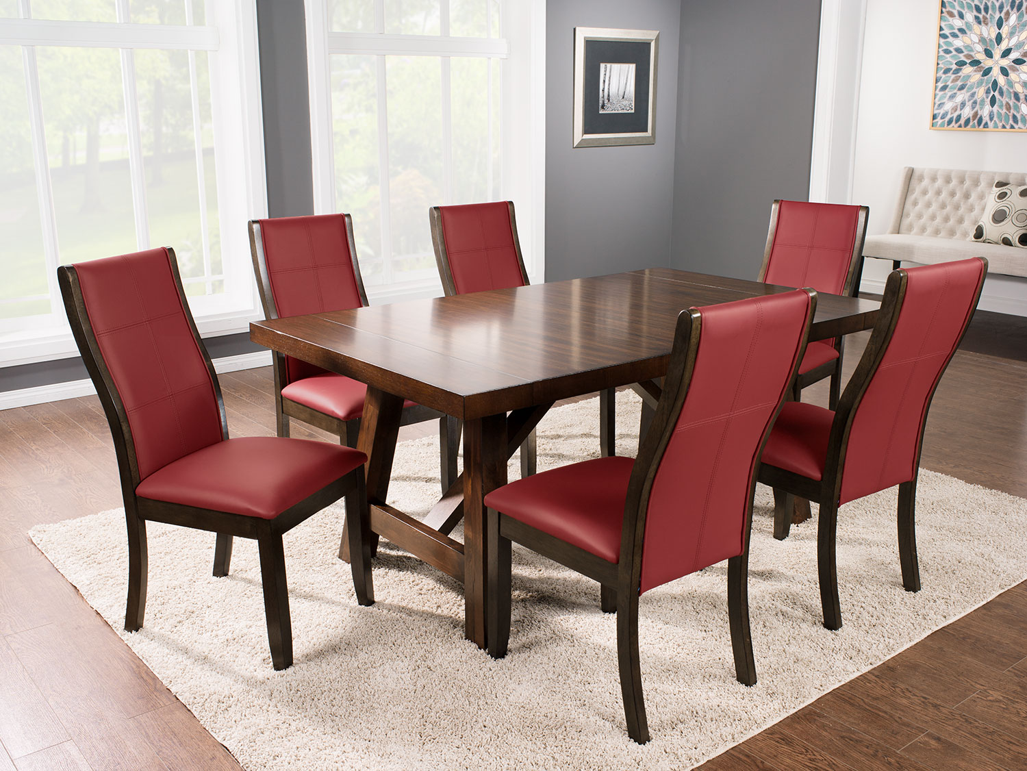 Adara 7-Piece Dining Package with Tyler Chairs – Red