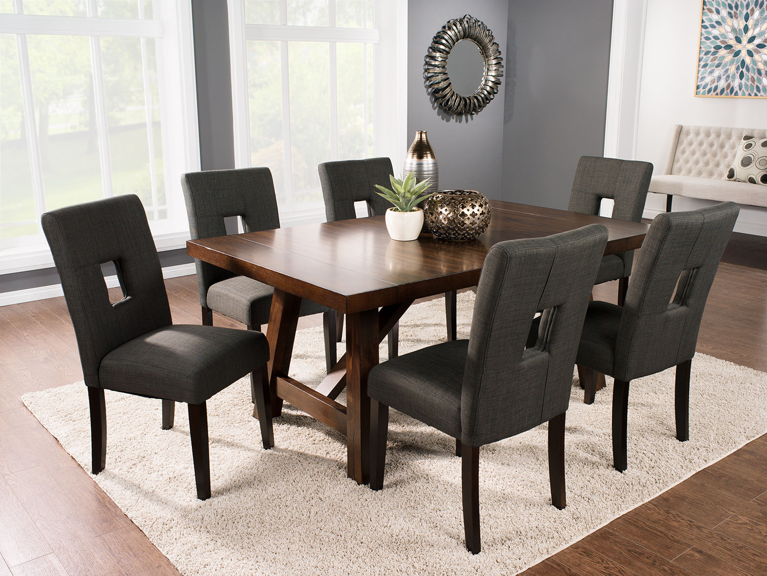 Dining Room Furniture - Adara 7-Piece Dining Package with McKena Chairs