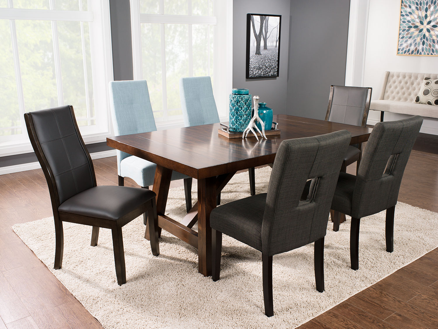 Dining Room Furniture - Adara 7-Piece Dining Package with Assorted Chairs