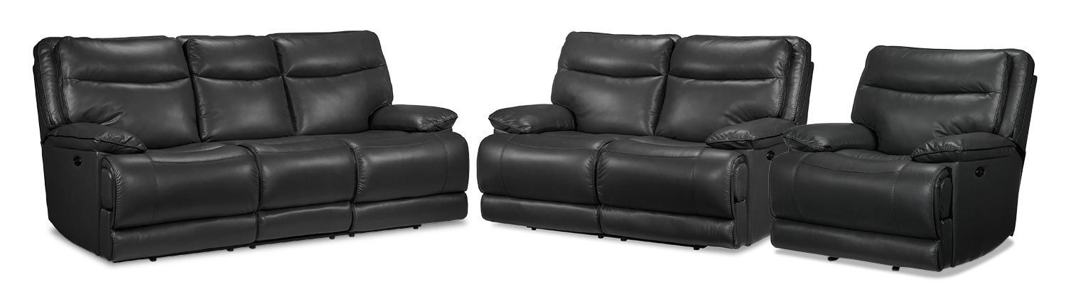 Lanette Power Reclining Sofa, Power Reclining Loveseat and Power Recliner Set - Smoke Grey