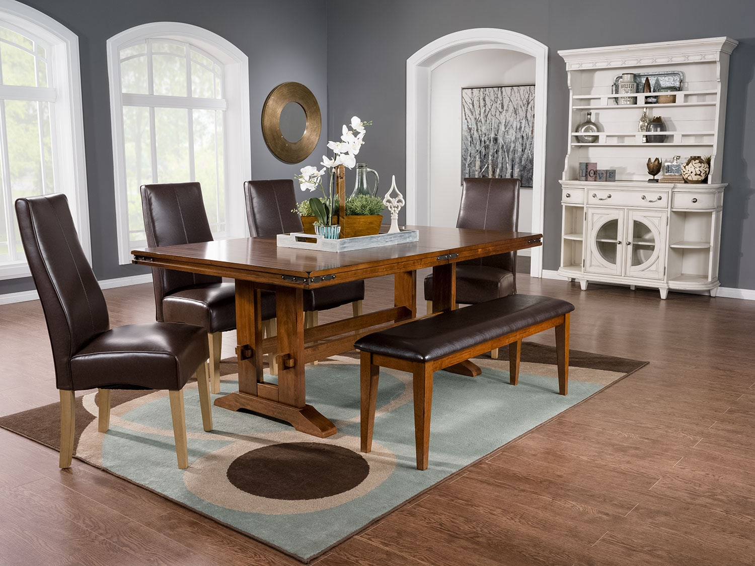 Dining Room Furniture - Magnus 5-Piece Dining Package with Colby Side Chairs