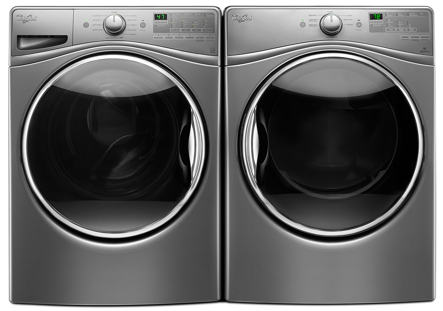 Whirlpool 5 2 Cu Ft Front Load Washer And 7 4 Cu Ft