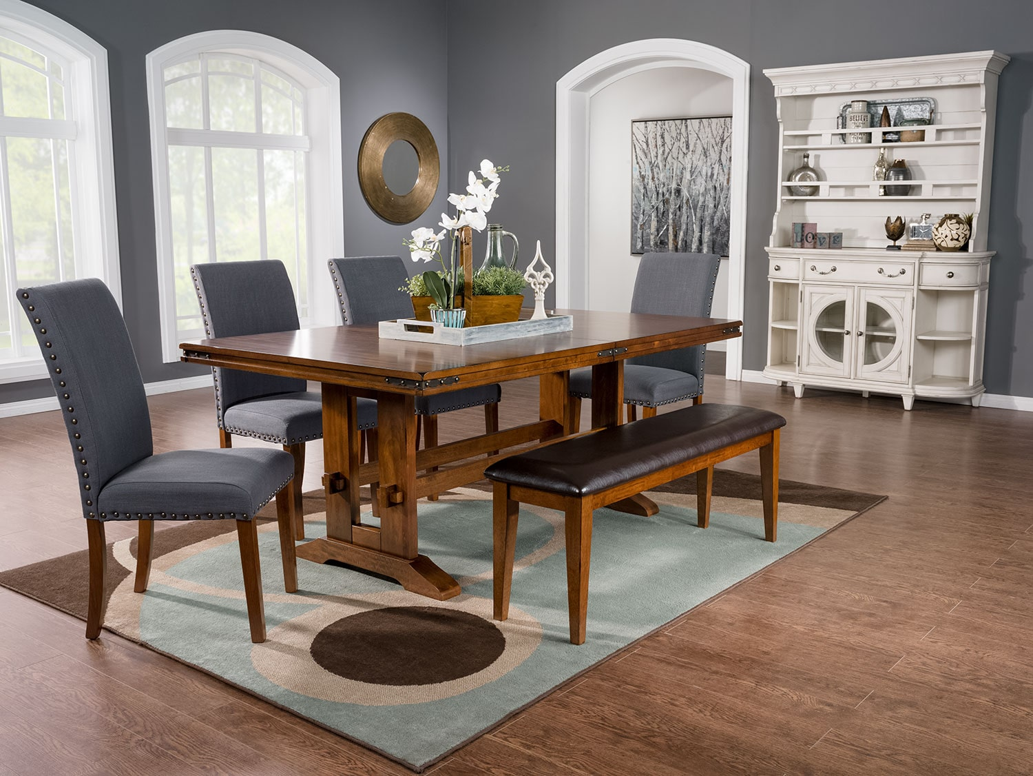 Dining Room Furniture - Magnus 5-Piece Dining Package with Mindy Dining Chairs