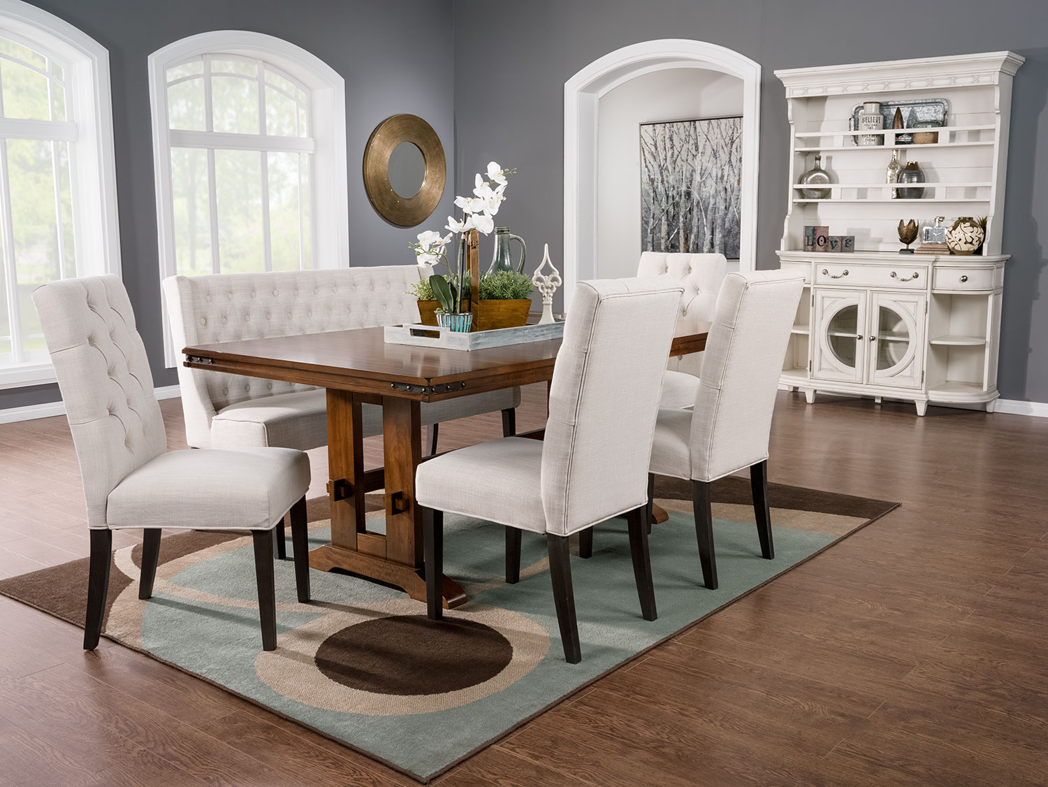 Dining Room Furniture - Magnus 5-Piece Dining Package with Caroline Side Chairs