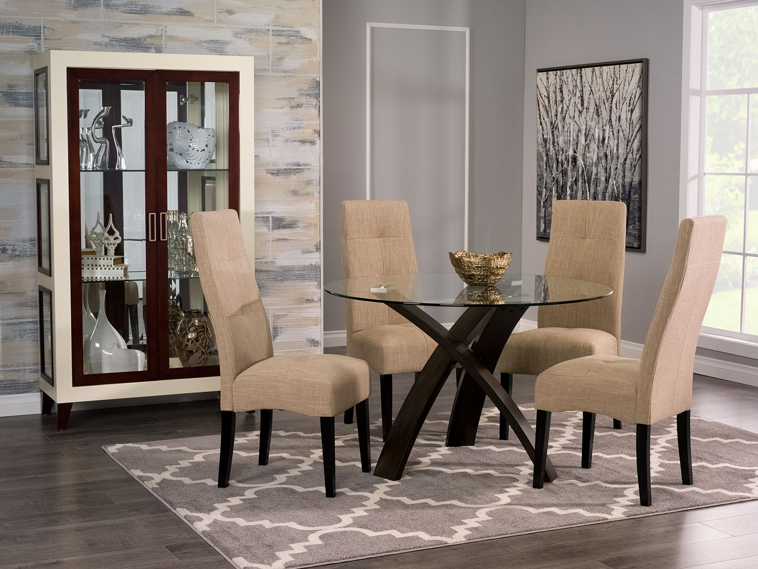 Skye 5-Piece Dining Package with Sadie Dining Chairs – Taupe