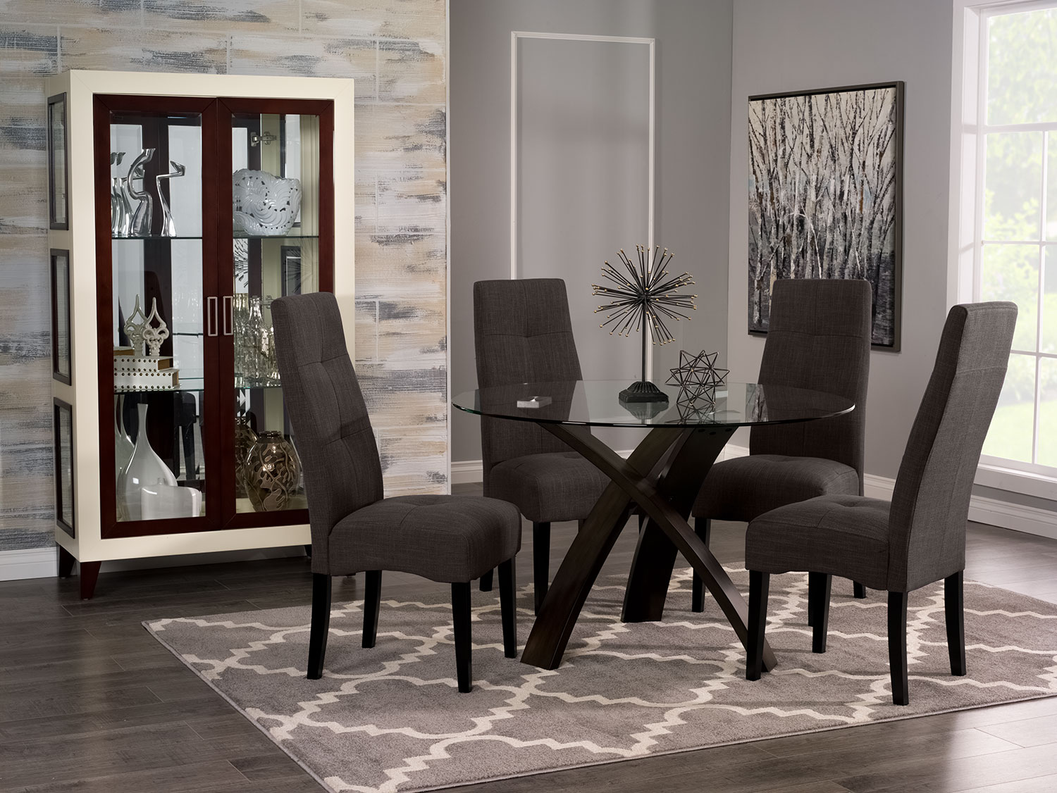 Skye 5-Piece Dining Package with Sadie Dining Chairs – Grey