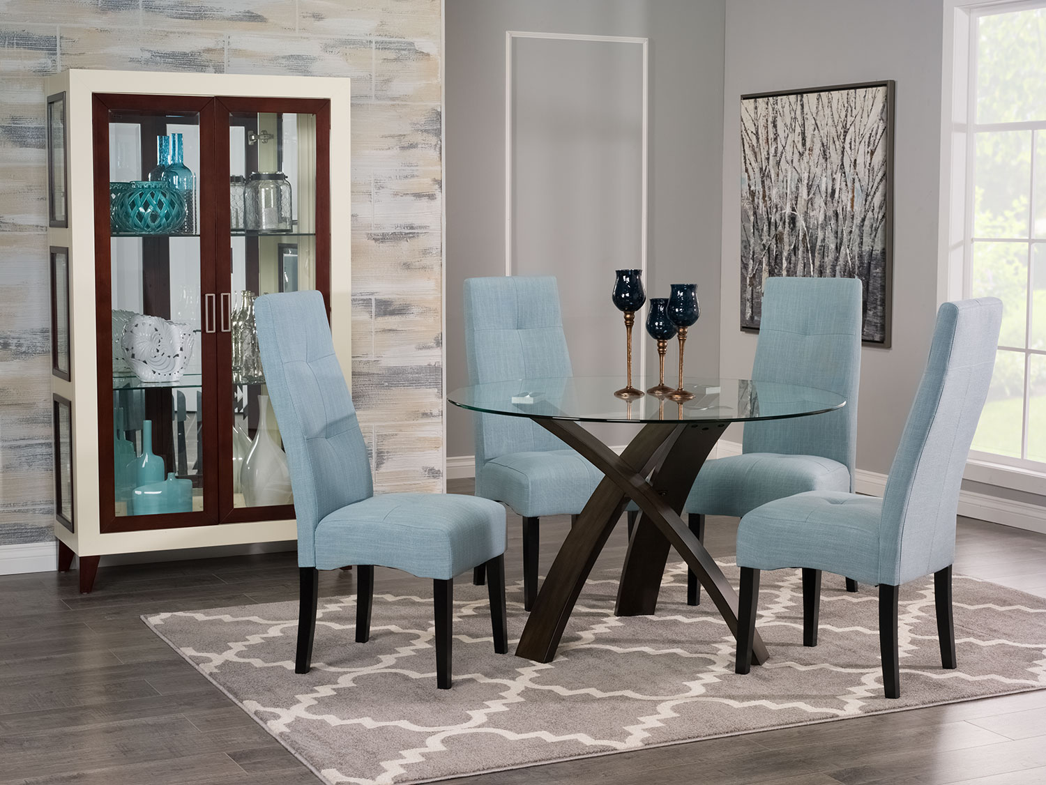 Dining Room Furniture - Skye 5-Piece Dining Package with Sadie Dining Chairs – Light Blue