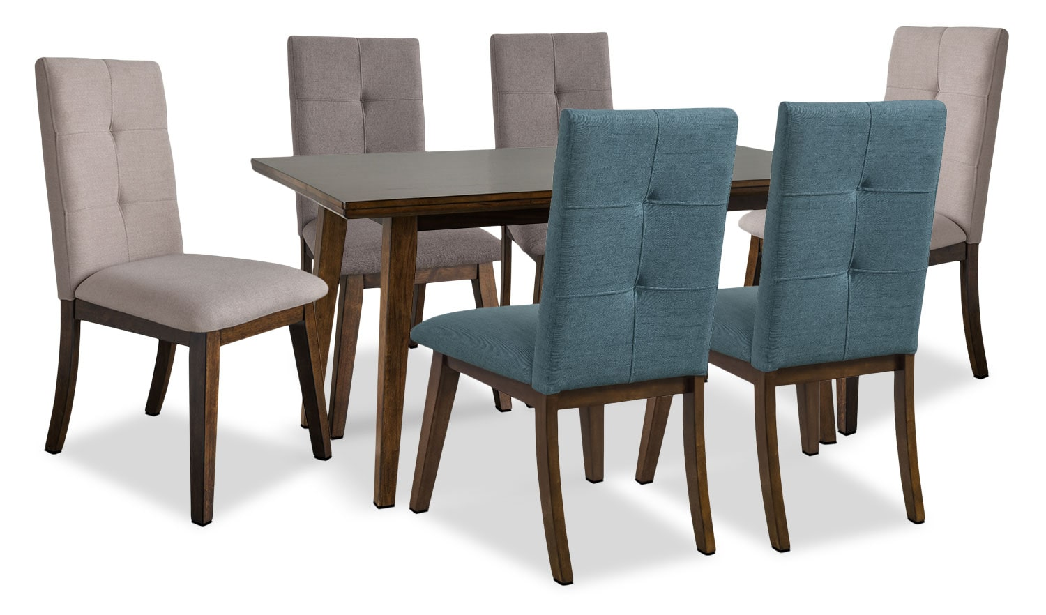 Dining Room Furniture - Chelsea 7-Piece Dining Table Package with Assorted Colour Chairs