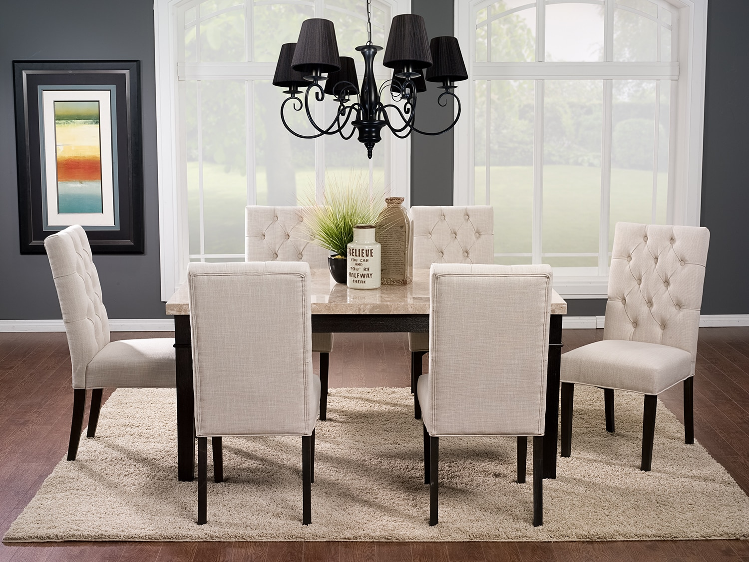 Aldo 7-Piece Dining Package with Caroline Side Chairs