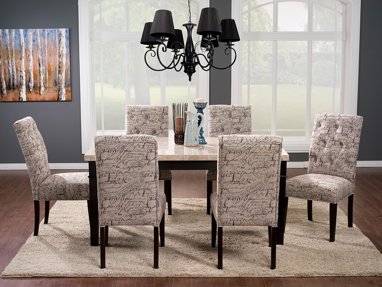 Aldo 7-Piece Dining Package with Brisbane Script Chairs