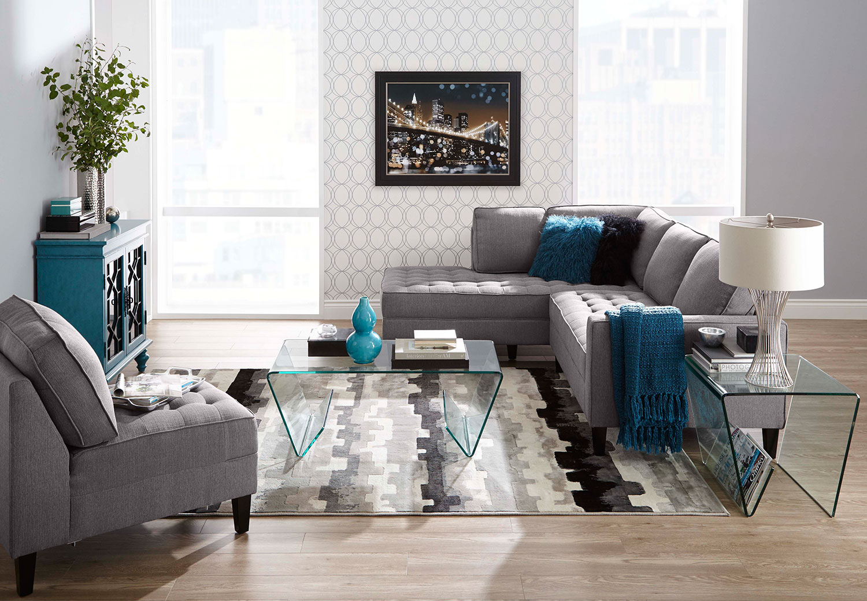 paris 2 piece linen look fabric left facing sectional. Black Bedroom Furniture Sets. Home Design Ideas