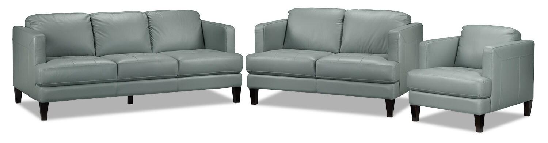 Walker Sofa, Loveseat and Chair Set - Seafoam