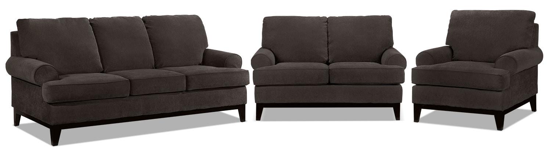 Crizia Sofa, Loveseat and Chair Set - Coffee
