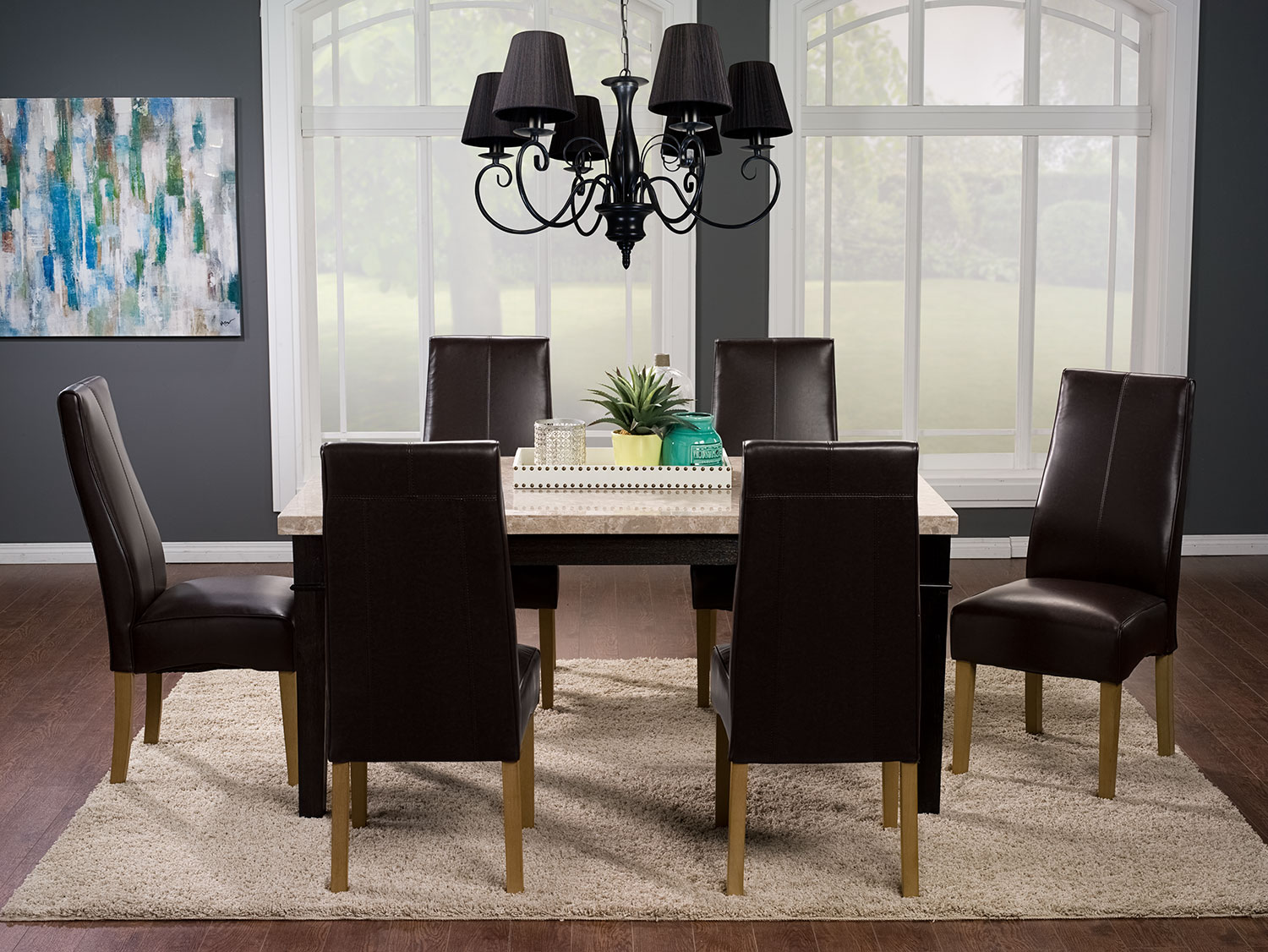 Dining Room Furniture - Aldo 7-Piece Dining Package with Colby Dining Chairs