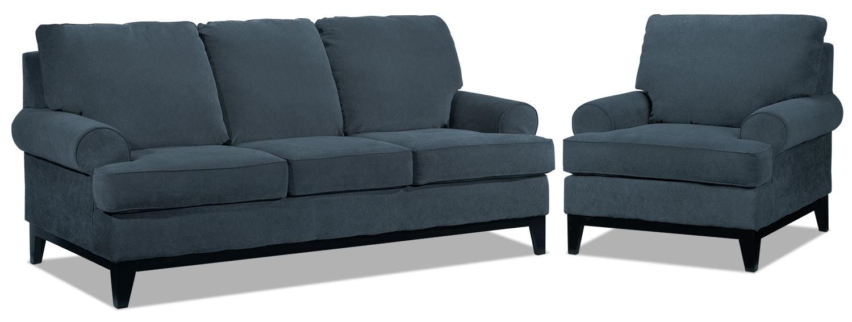 Crizia Sofa and Chair Set - Navy