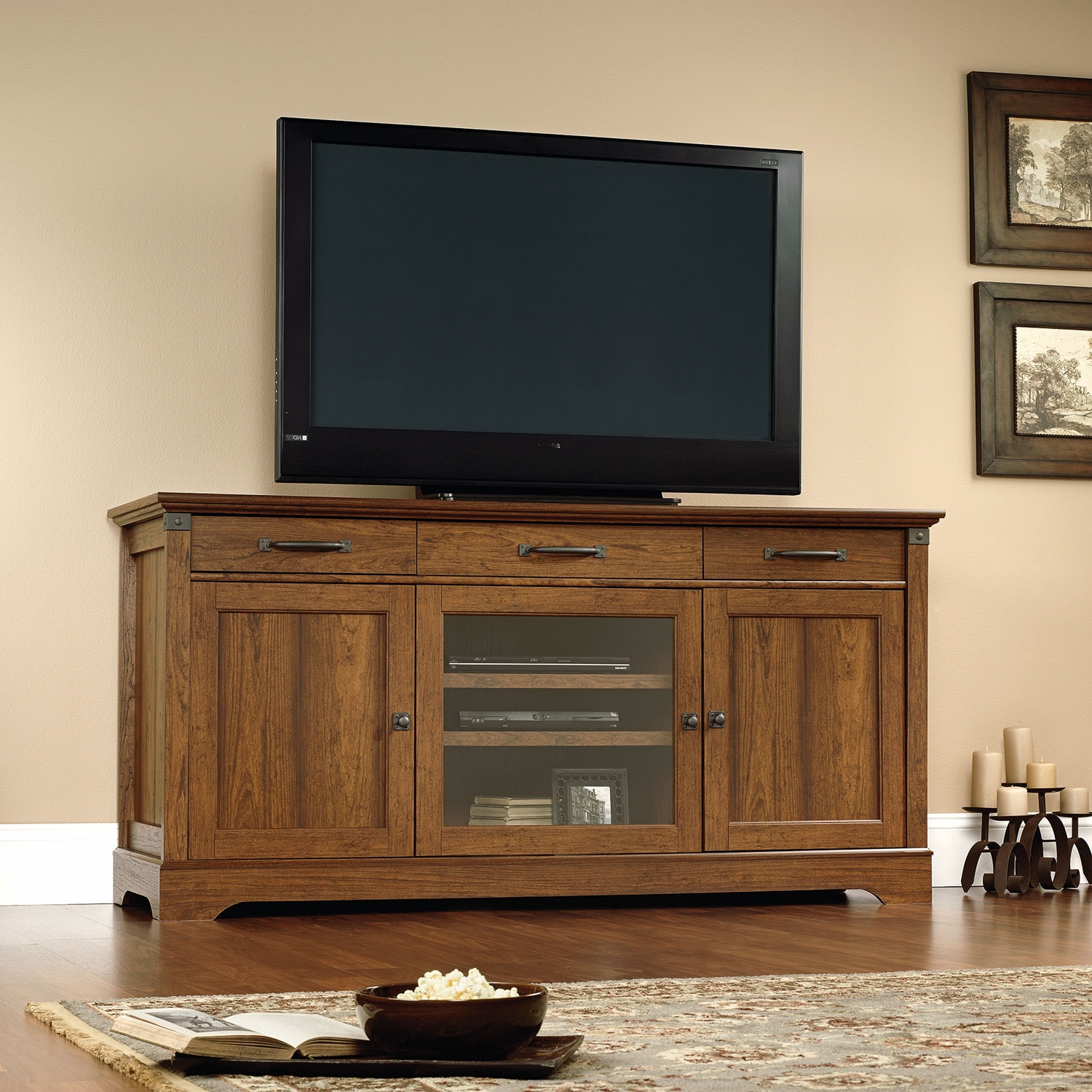 "Carson Forge 73"" TV Stand - Cherry"