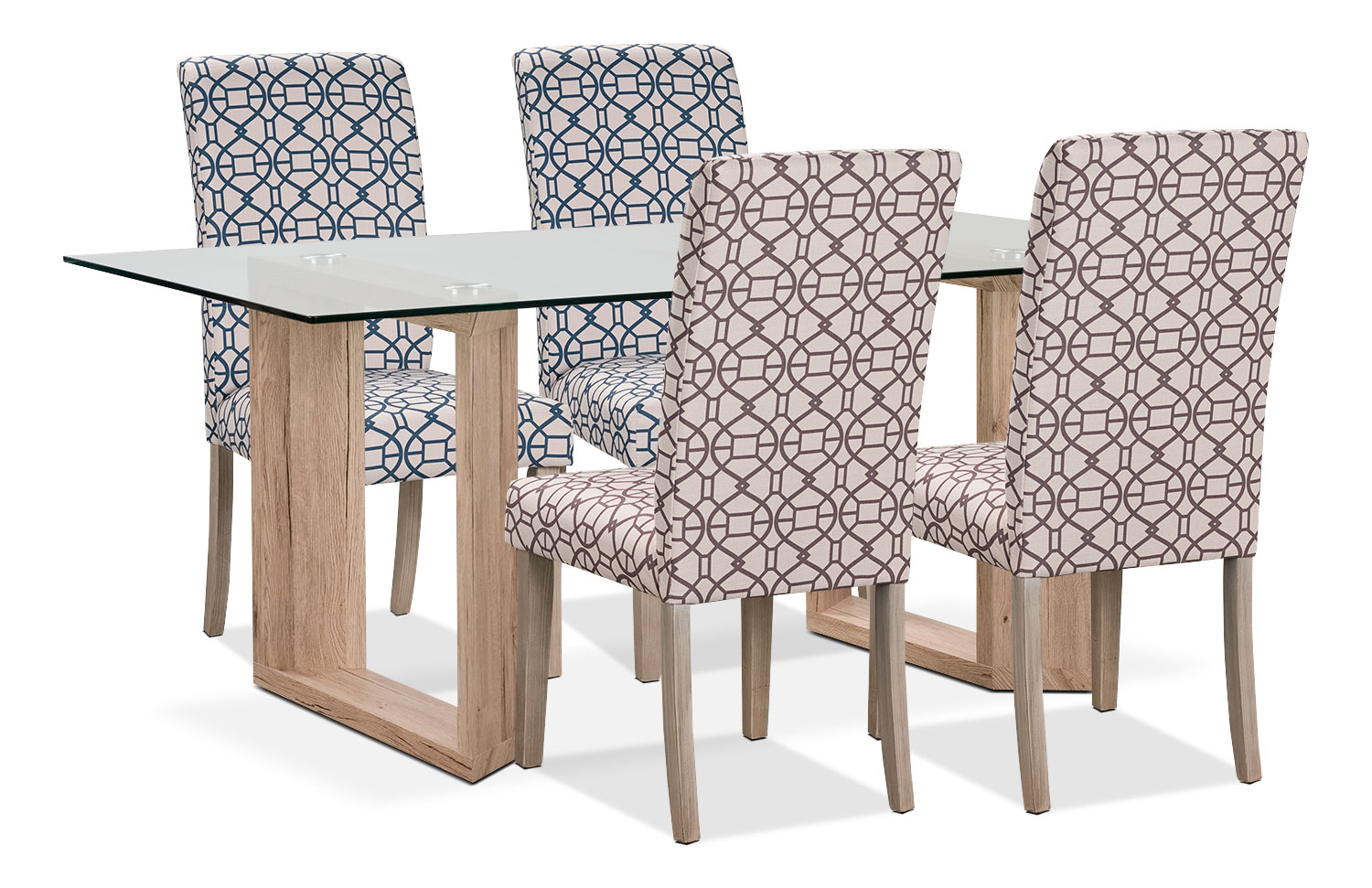 Aiden 5-Piece Dining Package with Kalen Chairs – Blue/Chocolate