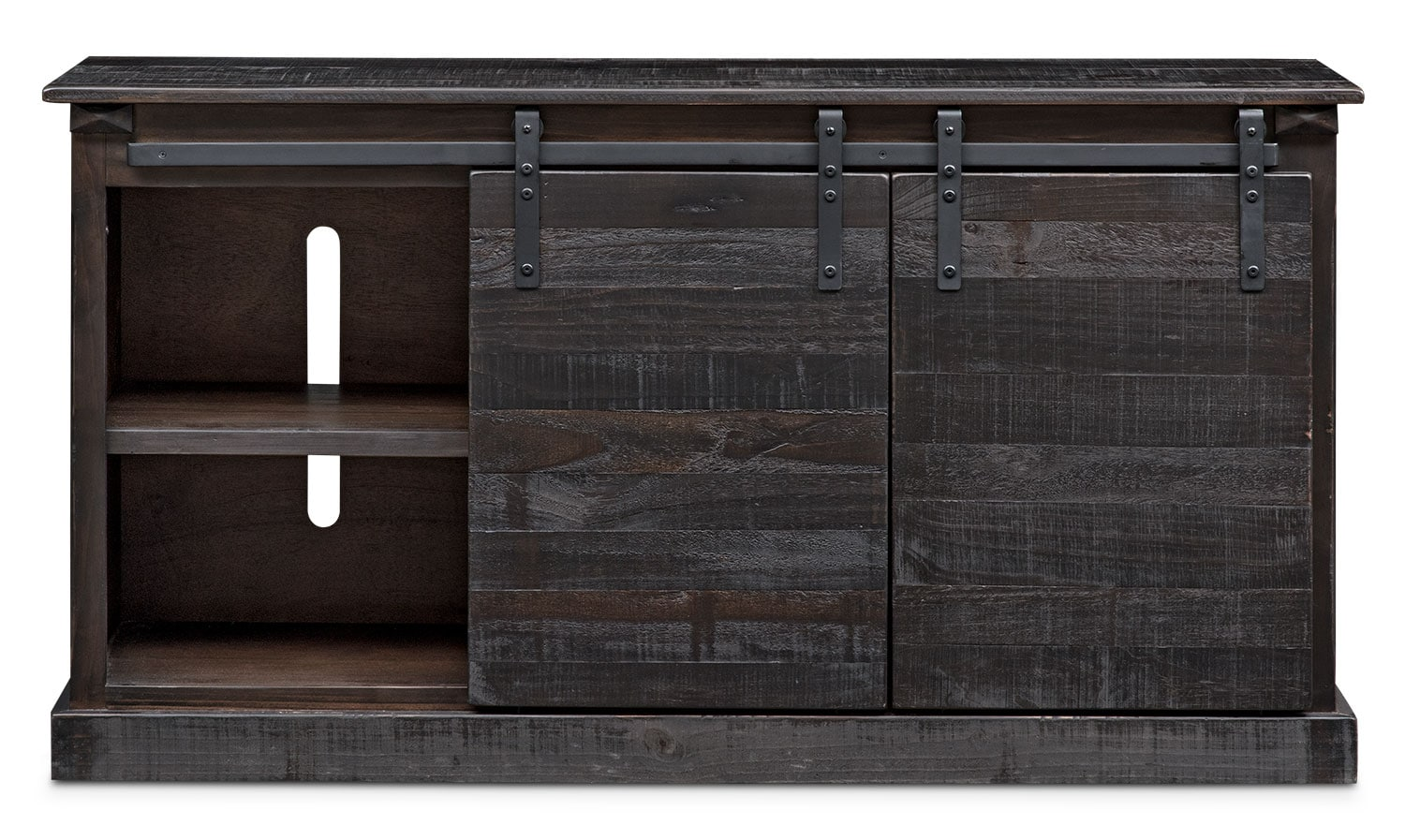 Ashcroft Media Credenza With Wine Storage Charcoal Value City Furniture