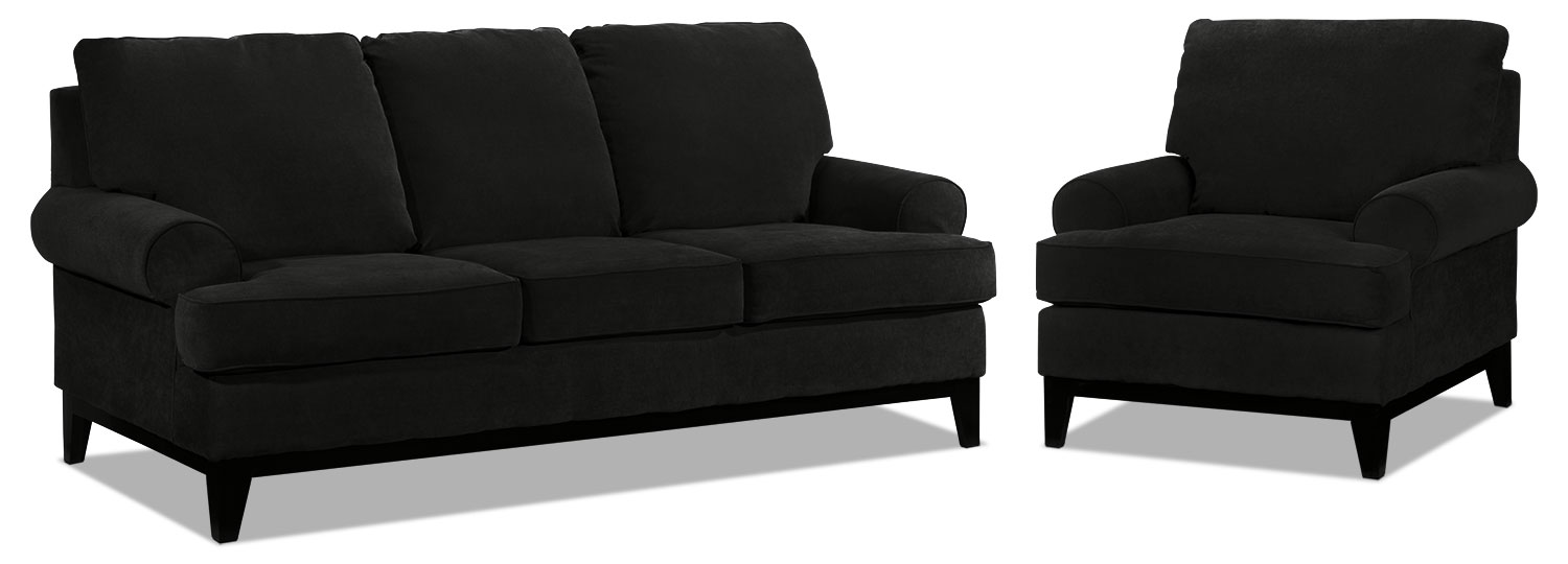 Crizia Sofa and Chair Set - Black