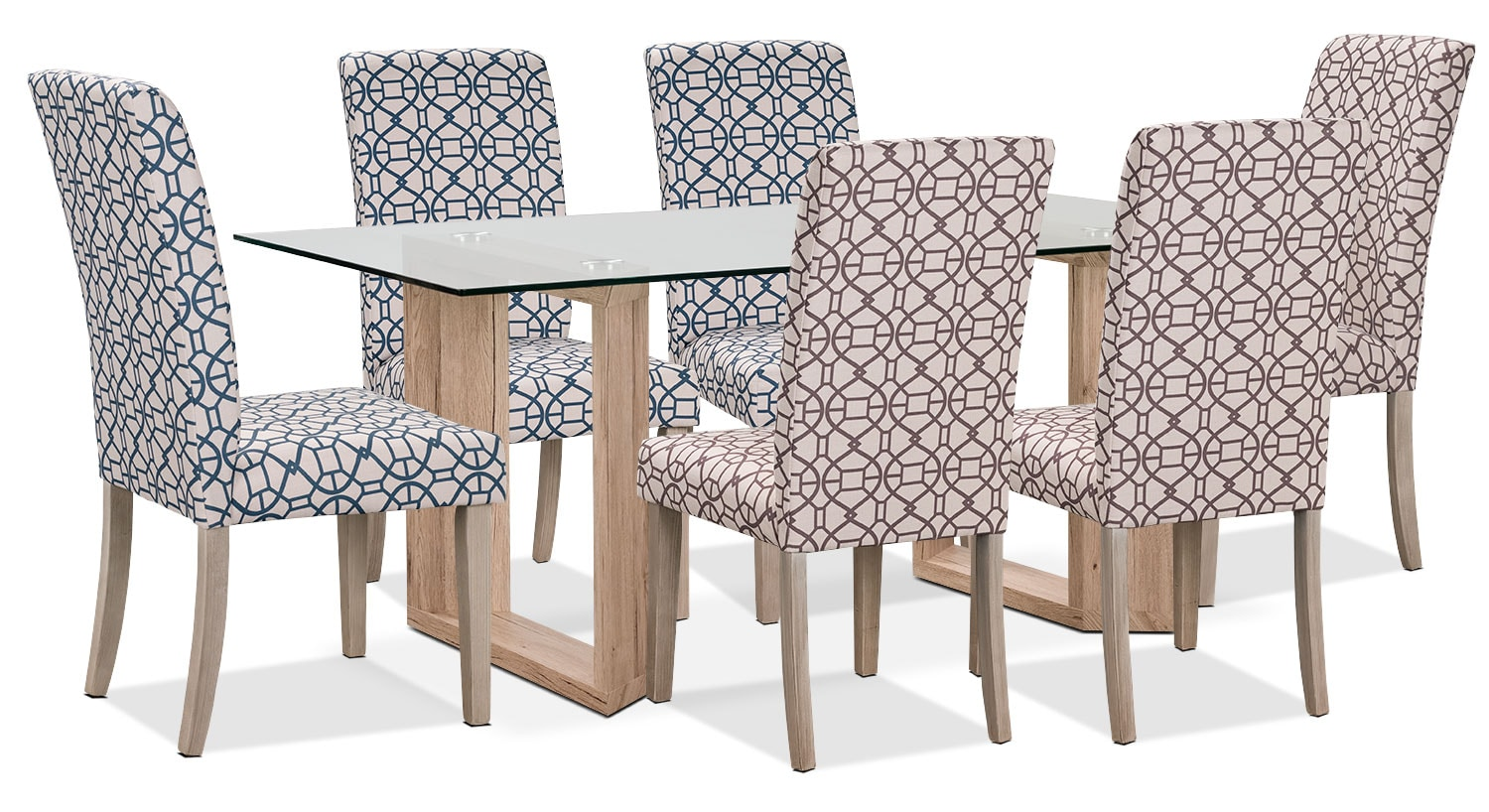 Aiden 7-Piece Dining Package with Kalen Chairs – Blue/Chocolate
