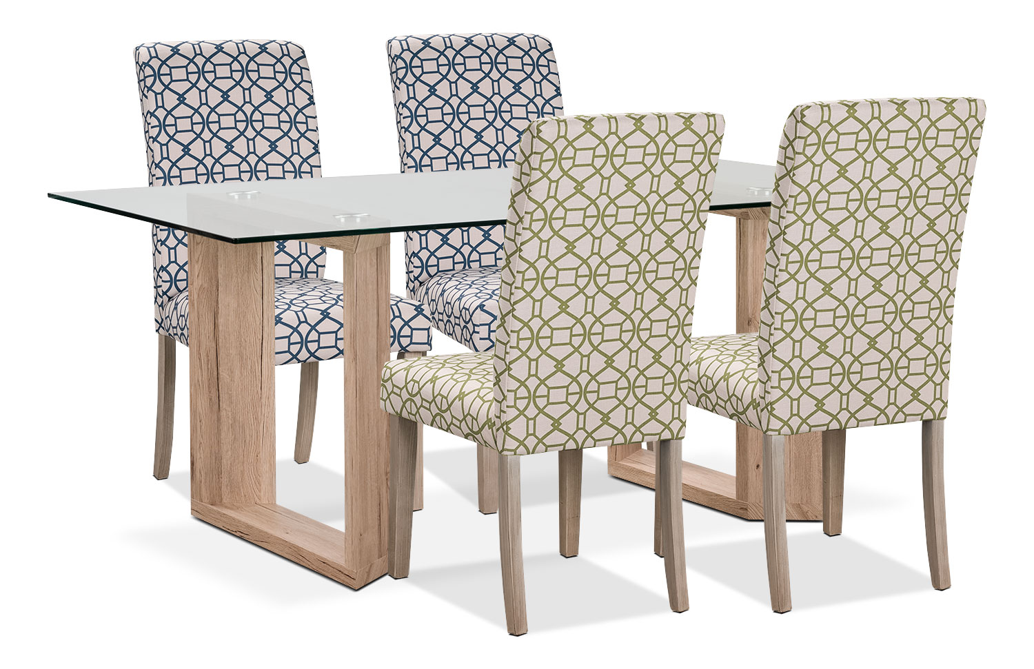 Dining Room Furniture - Aiden 5-Piece Dining Package with Kalen Chairs – Blue/Green