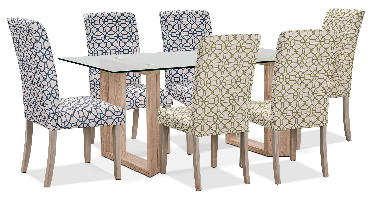 Dining Room Furniture - Aiden 7-Piece Dining Package with Kalen Chairs – Blue/Green