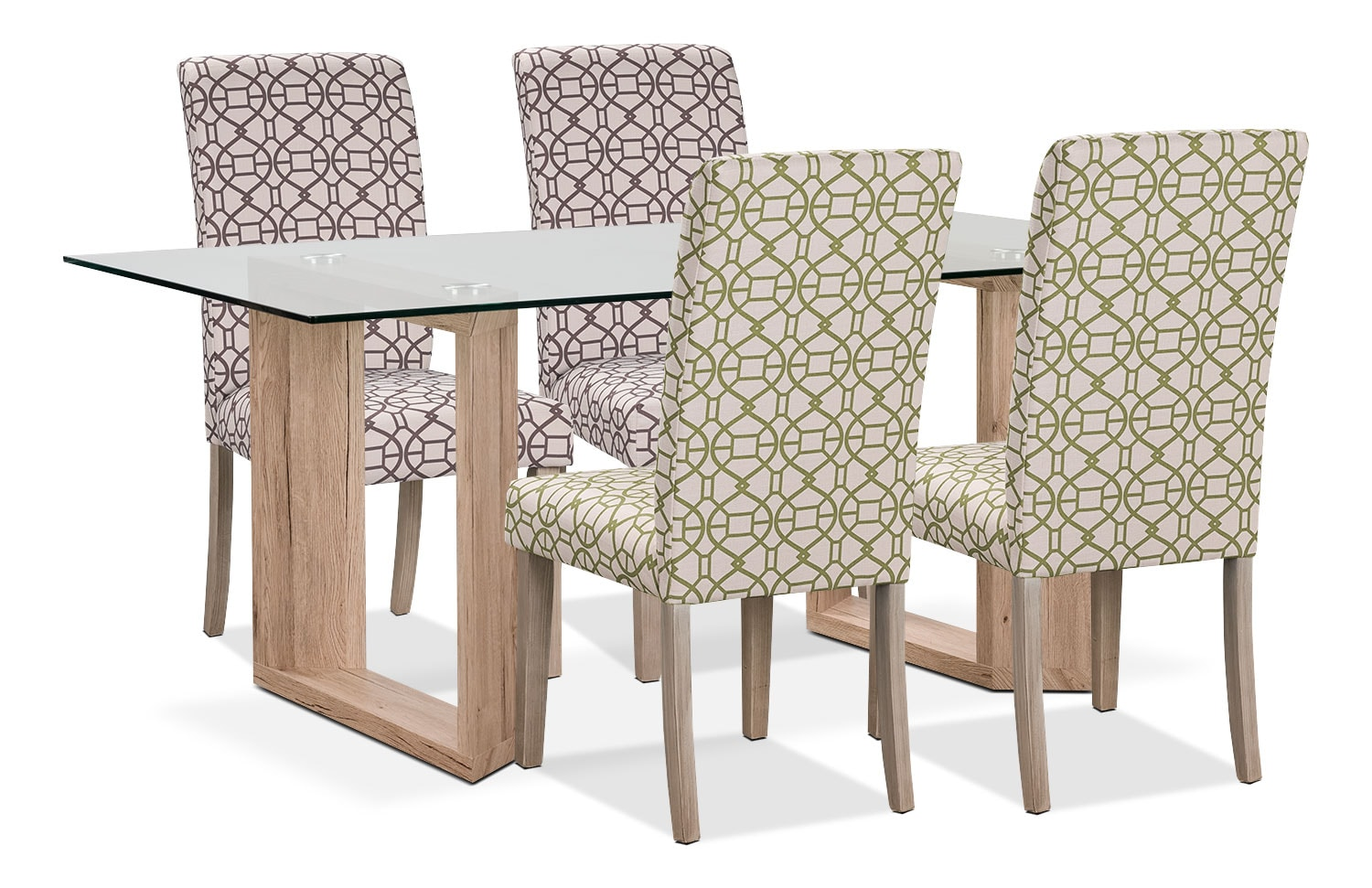 Dining Room Furniture - Aiden 5-Piece Dining Package with Kalen Chairs – Green/Chocolate