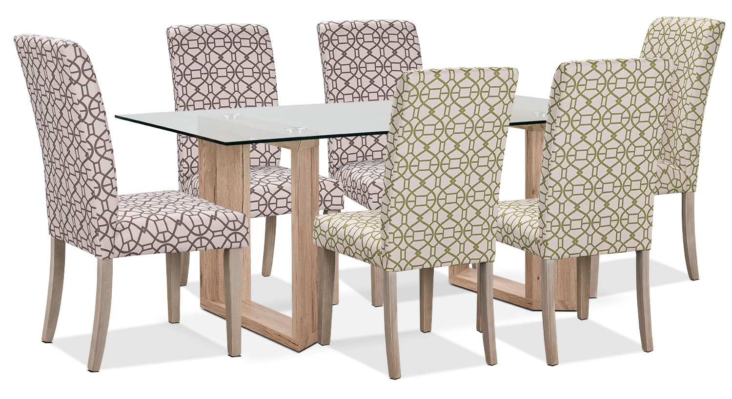 Dining Room Furniture - Aiden 7-Piece Dining Package with Kalen Chairs – Green/Chocolate