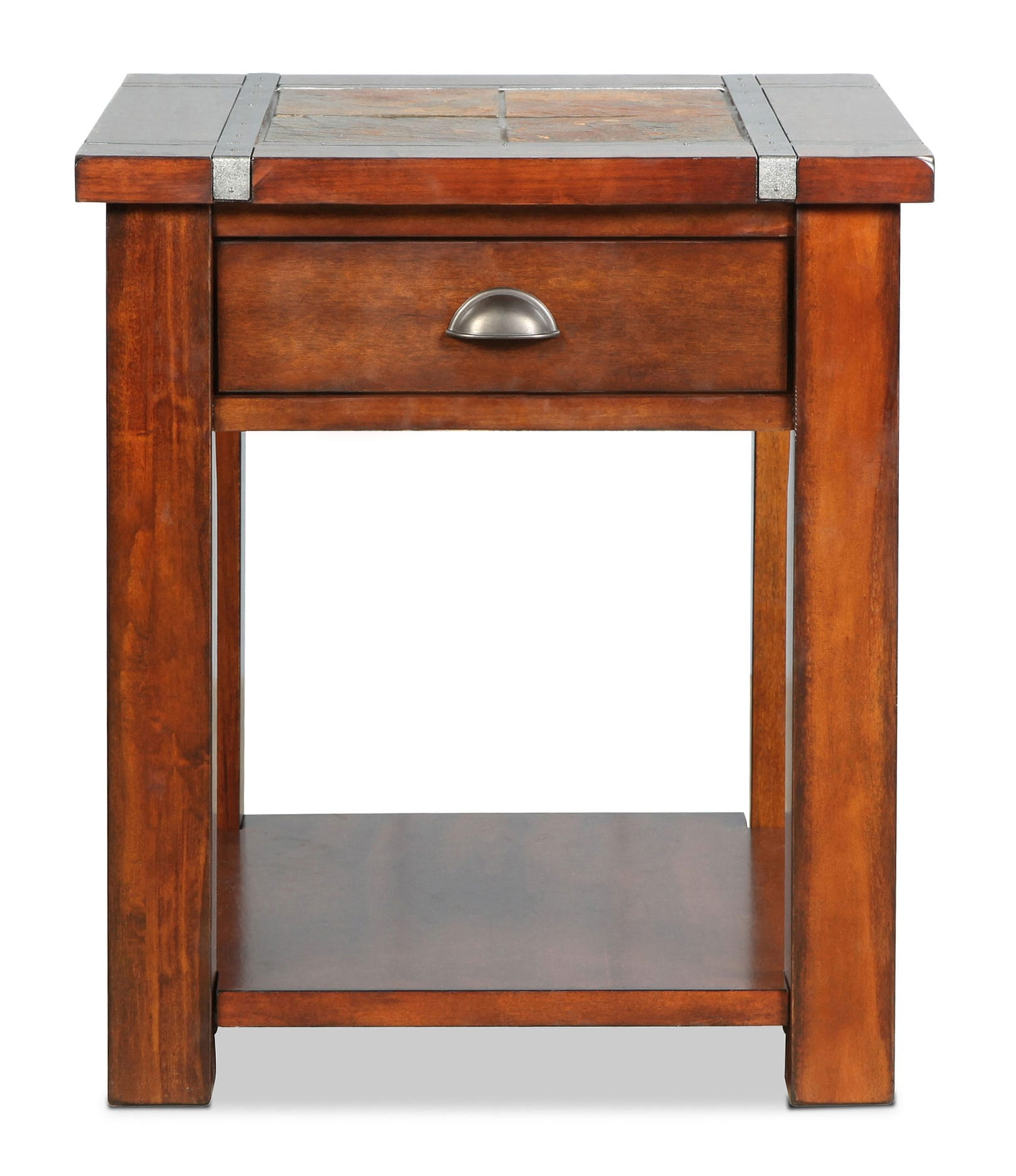 Accent and Occasional Furniture - Roanoke End Table - Slate and Cherry