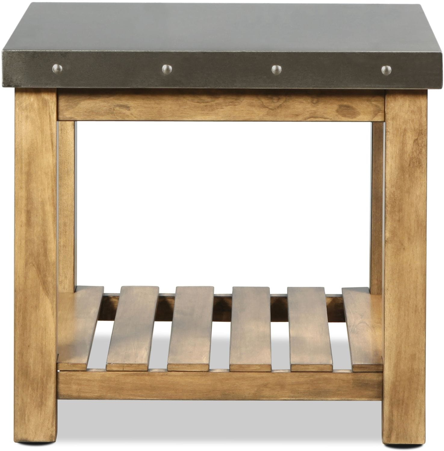 Allegro End Table - Weathered Wood with Metal