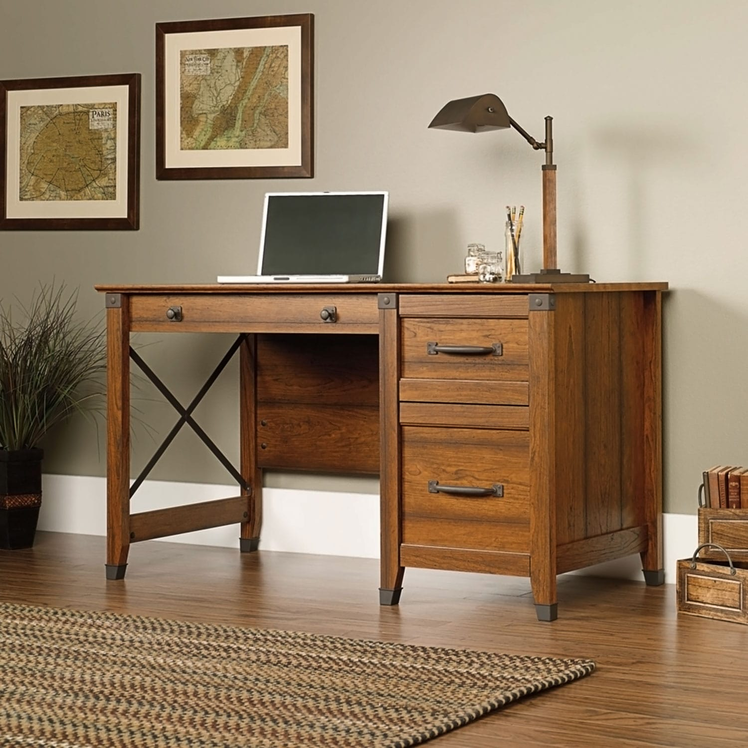 Home Office Furniture - Carson Forge Desk - Cherry